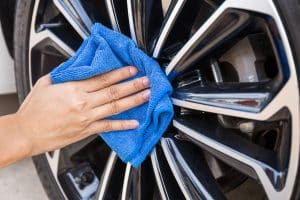 Car Detailing Wiping Down Rims